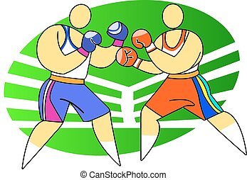Two boxers fighting