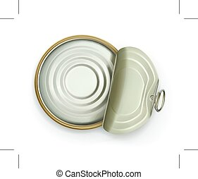 Open tin can, top view vector icon, isolated on white...
