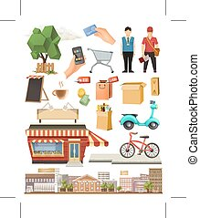 Shop, low poly vector icon set, isolated on white background