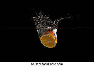 orange fell into the water