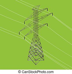 isometric high power voltage line