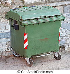 Green Waste Container - Green Plastic Garbage Container with...
