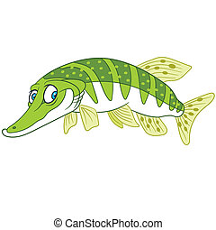 happy cartoon pike - pike in a good mood is swimming and...