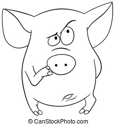 cute cartoon pig - pig is thinking about something