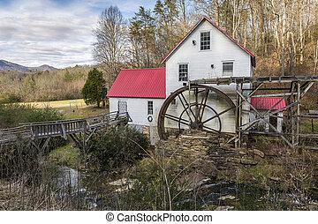 norte,  -, histórico,  grist, antigas, Moinho,  Carolina