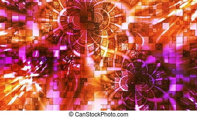 Twinkling Abstract Hi-Tech Light Patterns, Orange, Abstract,...