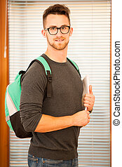 Adult man representing lifelong learning. Man with school...