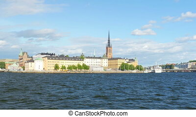 """public transportation ship going to old city, stockholm,..."