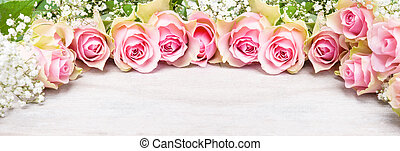 Pink roses and baby's breath, greeting card, Banner