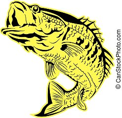 Jumping Fish vector - Vector illustration of a black bass...