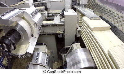 Milling machine. Inside view taken with action camera,...