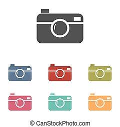 Digital photo camera icons set isolated on white background