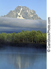 Mt. Moran morning, Teton National Park - Spring morning, Mt....