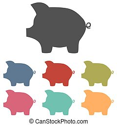 Pig money bank icons set isolated on white background