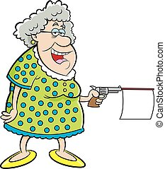 Cartoon Old Lady Shooting a Gun wit