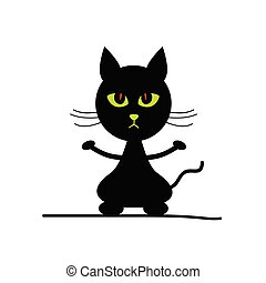 cat silhouette illustration with green eyes - cat adorable...
