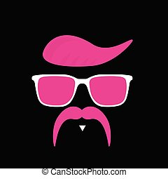 face with mustache illustration in pink