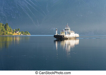 Ferry on the fjord, Norway - typical norwegian ferry on the...
