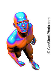 3d rendered illustration of a male looking at something