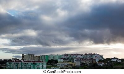Dark Heavy Storm Clouds over City, timelapse