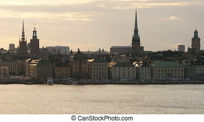 quot;stockholm old city view at sunset, sweedenquot; -...