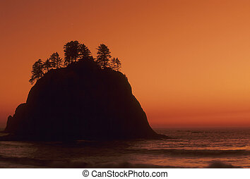Sea stack, Washington Coast - Silhouette of a sea stack on...