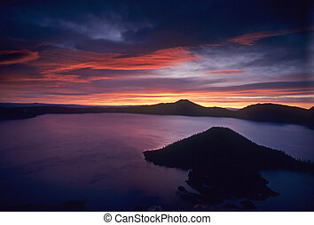 Crater Lake sunrise - Sunrise at Crater Lake National Park...