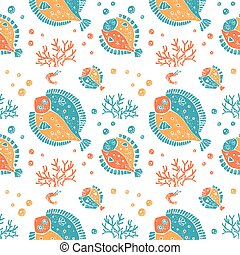 Seamless pattern in lino style, flounder and coral - Vector...