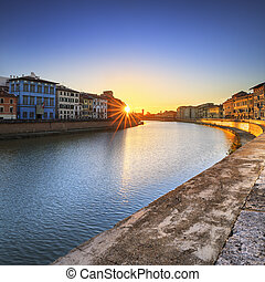 Pisa, Arno river sunset Lungarno view Tuscany, Italy, Europe...