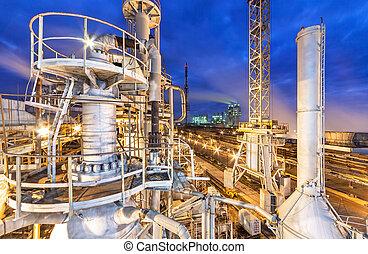 químico, planta, para, producción, de,...