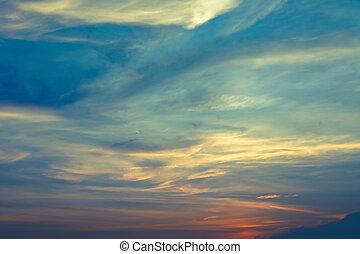 Beautiful cloudy sky during sunset.