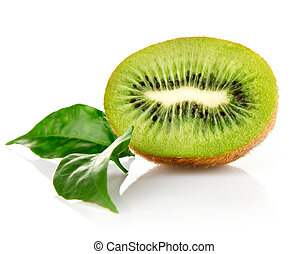 fresh kiwi fruit with green leaves