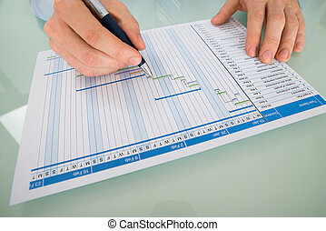 Businessman Working On Gantt Chart At Desk - Close-up Of A...