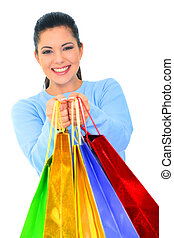 Happy Girl Offer Shopping Bags - beautiful young woman...