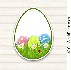 Easter paper sticker eggs with green grass and flowers -...