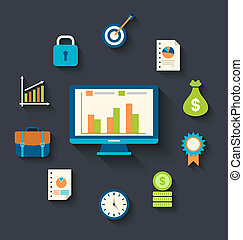 Flat icons concepts for business, finance, strategic...