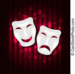 Comedy and tragedy theatre masks - Illustration comedy and...