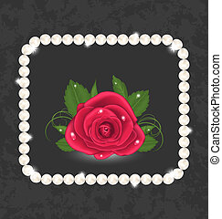 Vintage with red rose and pearls - Illustration vintage with...