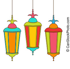 Colorful Arabic Lamps for Ramadan Kareem