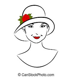 vintage girl face in hat with rose