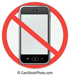 no cell - No cell phone sign, illustration
