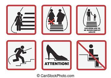 Escalator signs - Escalator, signs, subway