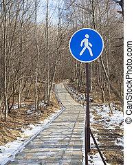 Blue pedestrian sign zone road  .