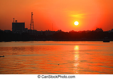Hyderabad city - Sun set over Hyderabad city in India