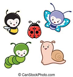 Cartoon Insects - Vector illustration of cute cartoon...