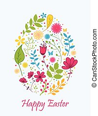 Easter egg with flower concept
