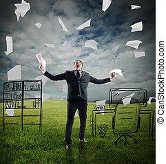 Businessman rejoices - Businessman in a meadow rejoices...