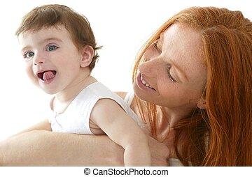 csecsemő, fehér, átkarolás, szeret, anyu
