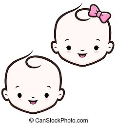 Cartoon Baby Face - Cartoon icon vector baby face for design...