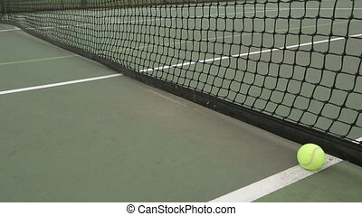 Tennis Ball Hand Court - A hand retrieves a ball hit into a...